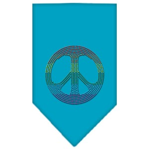 Rainbow Peace Sign Rhinestone Bandana Turquoise Small