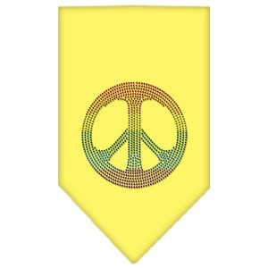 Rainbow Peace Sign Rhinestone Bandana Yellow Small