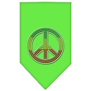 Rasta Peace Rhinestone Bandana Lime Green Large
