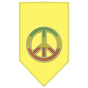 Rasta Peace Rhinestone Bandana Yellow Small
