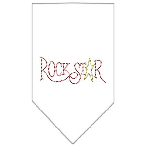 Rock Star Rhinestone Bandana White Large