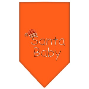 Santa Baby Rhinestone Bandana Orange Small