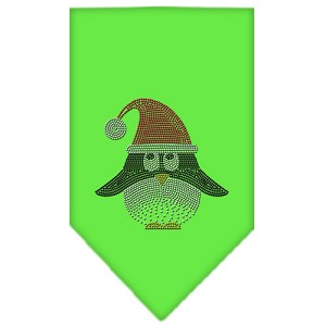 Santa Penguin Rhinestone Bandana Lime Green Small
