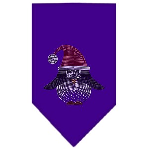 Santa Penguin Rhinestone Bandana Purple Small