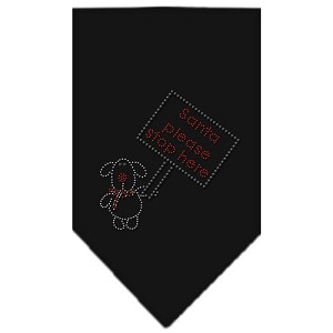 Santa Please Stop here Rhinestone Bandana Black Large