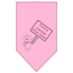 Santa Please Stop here Rhinestone Bandana Light Pink Small