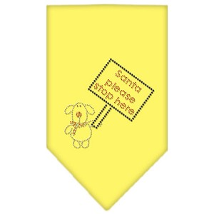 Santa Please Stop here Rhinestone Bandana Yellow Small