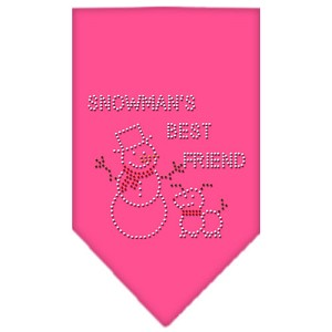 Snowman's Best Friend Rhinestone Bandana Bright Pink Small