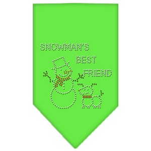 Snowman's Best Friend Rhinestone Bandana Lime Green Small
