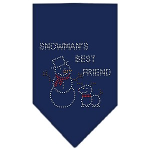 Snowman's Best Friend Rhinestone Bandana Navy Blue large