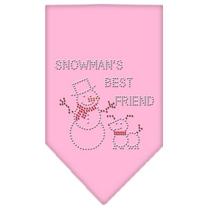 Snowman's Best Friend Rhinestone Bandana Light Pink Large