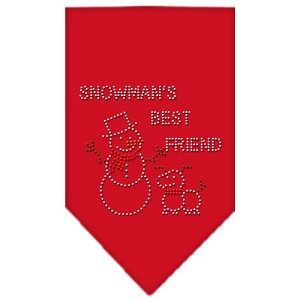 Snowman's Best Friend Rhinestone Bandana Red Large