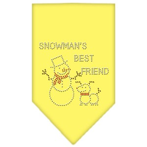 Snowman's Best Friend Rhinestone Bandana Yellow Large