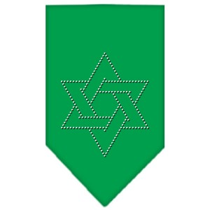 Star Of David Rhinestone Bandana Emerald Green Large