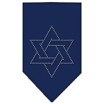 Star Of David Rhinestone Bandana Navy Blue Small