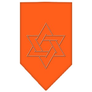 Star Of David Rhinestone Bandana Orange Large