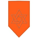 Star Of David Rhinestone Bandana Orange Small