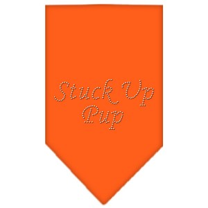 Stuck Up Pup Rhinestone Bandana Orange Large