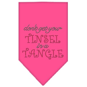 Tinsel in a Tangle Rhinestone Bandana Bright Pink Large