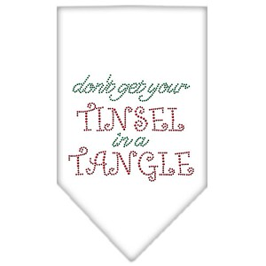 Tinsel in a Tangle Rhinestone Bandana White Small