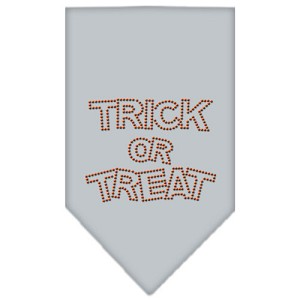 Trick or Treat Rhinestone Bandana Grey Small