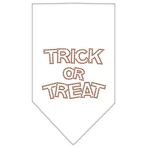 Trick or Treat Rhinestone Bandana White Large