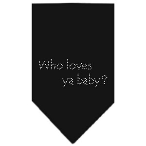 Who Loves Ya Baby Rhinestone Bandana Black Small