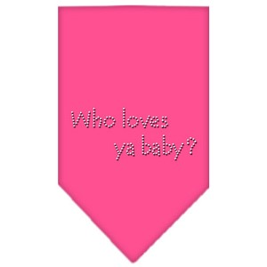Who Loves Ya Baby Rhinestone Bandana Bright Pink Large