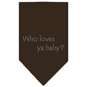 Who Loves Ya Baby Rhinestone Bandana Cocoa Large