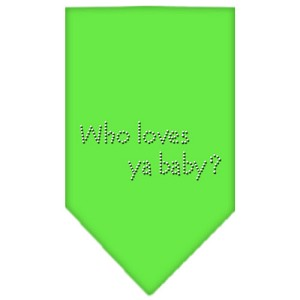 Who Loves Ya Baby Rhinestone Bandana Lime Green Small