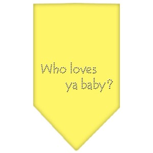 Who Loves Ya Baby Rhinestone Bandana Yellow Small
