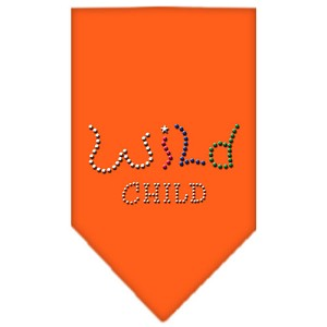 Wild Child Rhinestone Bandana Orange Large