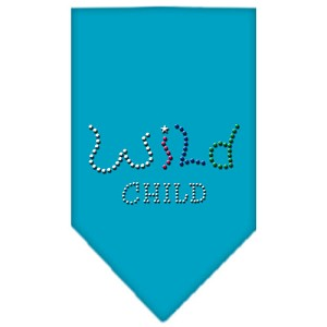 Wild Child Rhinestone Bandana Turquoise Large