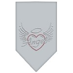 Angel Heart Rhinestone Bandana Grey Small