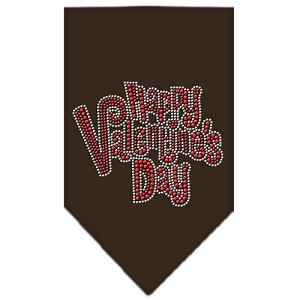 Happy Valentines Day Rhinestone Bandana Brown Small