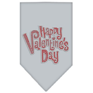 Happy Valentines Day Rhinestone Bandana Grey Large