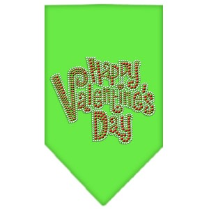 Happy Valentines Day Rhinestone Bandana Lime Green Small