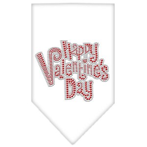 Happy Valentines Day Rhinestone Bandana White Small