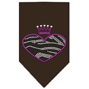 Zebra Heart Rhinestone Bandana Brown Large