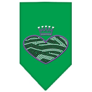 Zebra Heart Rhinestone Bandana Emerald Green Small