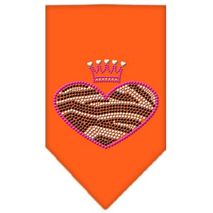 Zebra Heart Rhinestone Bandana Orange Small