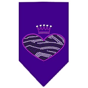 Zebra Heart Rhinestone Bandana Purple Large