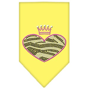 Zebra Heart Rhinestone Bandana Yellow Large