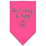 Be Hippy Screen Print Bandana Bright Pink Small