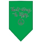 Be Hippy Screen Print Bandana Emerald Green Small