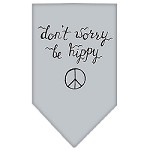 Be Hippy Screen Print Bandana Grey Small