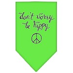 Be Hippy Screen Print Bandana Lime Green Small