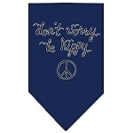 Be Hippy Screen Print Bandana Navy Blue Small