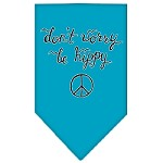 Be Hippy Screen Print Bandana Turquoise Small