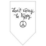 Be Hippy Screen Print Bandana White Small